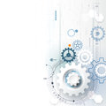 Vector illustration gear wheel, hexagons, circuit board. Abstract hi-tech technology and engineering background