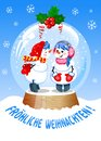 Vector Illustration in german language. Cute Christmas Snow Globe with Kissing snowman inside Royalty Free Stock Photo