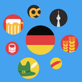 Vector illustration of germany round flat icon set