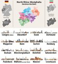 Vector illustration of Germany state`s North Rhine-Westphlia map with largest cities skylines