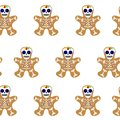 Vector illustration. Holiday cookie in shape of man. Day of the dead cookie. Dia de los muertos icon on white background