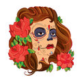 Vector illustration of girl face with Sugar skull or Calavera Catrina makeup and red roses isolated on white.