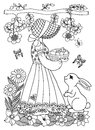 Vector illustration of a girl holding a a basket with chick and bunny watching her. The work Made in manually. Book Coloring anti-