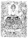 Vector illustration girl holding flower zentangle in lush dress full growth. Frame of flowers, doodle, zenart. Anti Royalty Free Stock Photo