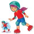 Vector illustration of girl rolls on roller skates