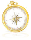 Vector illustration gold pocket compass Stock Image
