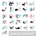Alphabet with cute cartoon animals. Bear, dear, fox, elephant, monkey, raccoon in a hand-drawn style.
