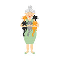 Vector illustration with grandma and cats. White background.