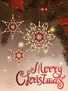 Vector illustration of greeting banner template with hand lettering label - merry Christmas - with beads, baubles