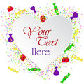 Vector illustration of greeting card with white paper heart and colorful candies
