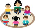 Vector illustration of a group of children signing in a circle group Stock Images