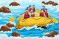 A vector illustration of a group of happy people rafting on river Stock Photos