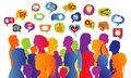Connecting group of multiethnic people who socialize communicate and share information. Communication and sharing. Crowd that spea Royalty Free Stock Photo