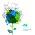 Vector illustration of growing plant and earth with outline trees, house, people and alternative energy generators.