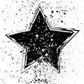 Vector illustration with grunge black star on white background.
