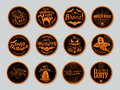 Vector illustration of halloween Badges and Design Elements with symbols