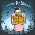 Vector illustration of Halloween penguin concept Royalty Free Stock Photo