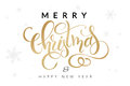 Vector illustration of hand drawn lettering - Merry Christmas and happy new year - with snowflakes on the background Royalty Free Stock Photo