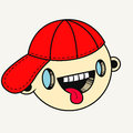 Vector illustration. Hand drawn smiling face of a funny looking boy with his tongue out in a red cap. Royalty Free Stock Photo