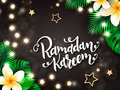 Vector illustration of hand lettering greetings text - ramadan kareem with tropical flowers - plumeria, palm, monstera