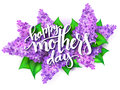 Vector illustration of hand lettering - happy mothers day on a background of blooming lilac branches