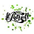 Vector illustration: Handwritten elegant modern brush lettering composition of Happy St Patrick`s Day