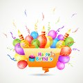 Vector illustration of happy birthday chat bubble Stock Photography