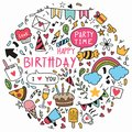 003-hand drawn background doodle Happy birthday Ornaments ementevent pattern party Vector illustration Royalty Free Stock Photo