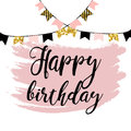 Vector illustration: Happy Birthday on white background. Typography design. Greetings card.
