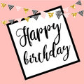 Vector illustration: Happy Birthday on white background. Typography design. Greetings card. Royalty Free Stock Photo