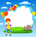 Vector illustration of happy boy on a meadow with balloons