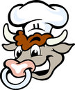 Vector illustration of an happy bull chef head hand drawn Royalty Free Stock Photography