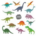 Vector illustration of happy Cartoon Dinosaur Character Set Royalty Free Stock Photo