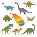 Vector illustration of happy Cartoon Dinosaur Character Set Royalty Free Stock Photo