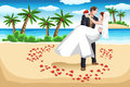 A vector illustration of happy couple on the beach in wedding dress Royalty Free Stock Image