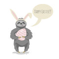 Vector illustration of happy cute cloth with bunny or rabbit ears Royalty Free Stock Photo