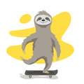 Vector illustration of happy cute sloth on skateboard. Royalty Free Stock Photo