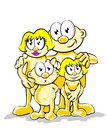 Vector illustration of a happy family posing for a photo the father mother and two children smiling Royalty Free Stock Photography