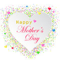 Vector illustration of Happy Mother`s day card with white heart