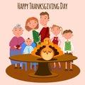 Vector Illustration of a Happy Thanksgiving Celebration Design with Cartoon Turkey