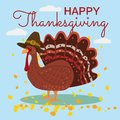 Happy Thanksgiving Celebration with Cartoon Turkey and Autumn Leaves. Vector, Illustration, Design, Baner, Poster