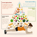 Vector illustration of a healthy food pyramid for people. Infogr