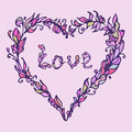 Vector illustration of heart. Hand drawn love doodle. Pink and purple colors.