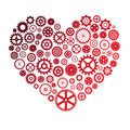 Vector illustration of heart made of cogwheels colorful Royalty Free Stock Images