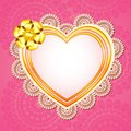 Vector illustration heart shape frame lace work Stock Images