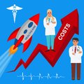 Rising healthcare costs, vector illustration Royalty Free Stock Photo