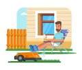 Vector illustration of home robot trimming lawn, man having rest Royalty Free Stock Photo