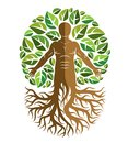 Vector illustration of human, athlete created as continuation of tree with strong roots and surrounded by eco green leaves.