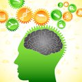 Vector illustration of human brain thinking of intelligent idea Stock Photography