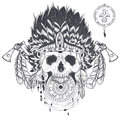 Vector illustration of a human skull in an indian feather hat, tattoo template